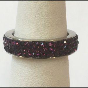 Stainless Steel Deep Purple Swarovski Crystal Ring